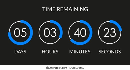 Countdown timer. Time counter with digital scoreboard. Time remaining display. Vector illustration.