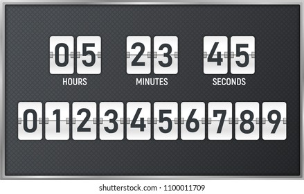 Countdown timer. Time remaining count down flip board with scoreboard of day, hour, minutes and seconds for web page upcoming event template design, under constuction page. Vector illustration