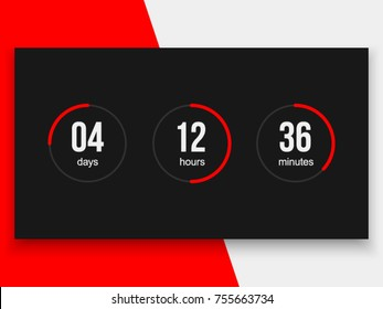 Countdown timer vector clock counter. Modern count down day vector business sign. Countdown web site vector template digital clock timer background for coming soon