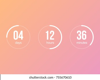 Countdown timer vector clock counter. Count down web site vector flat line template. Digital clock timer for website coming soon