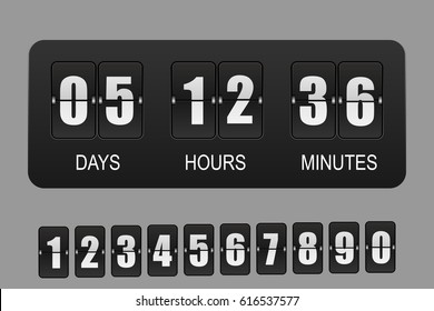 Countdown timer. Vector flip clock