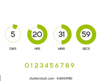 Countdown Timer for the website. Round section. Days, hours, minutes, seconds. white background. Vector drawing