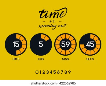 Countdown Timer for the website. Round section. Days, hours, minutes, seconds. Gold background. Stock inscription time is running out, lettering