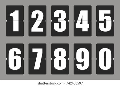 Countdown timer, white color mechanical scoreboard with different numbers. Vector illustration