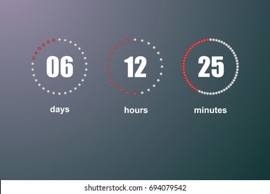 Countdown vector template digital clock timer background for coming soon