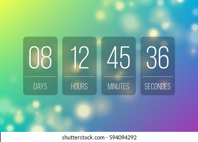 Countdown web site vector flat template flip style clock timer background for coming soon or under construction transparent design