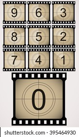Counted down numbers on retro looking, old fashioned film counter. Vector art.
