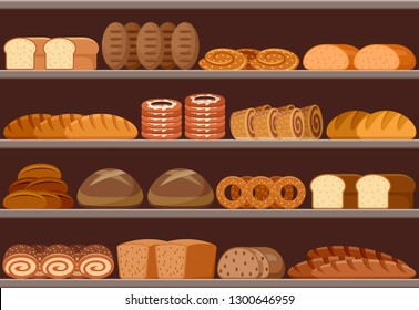 Counter with bread. Supermarket. Vector illustration