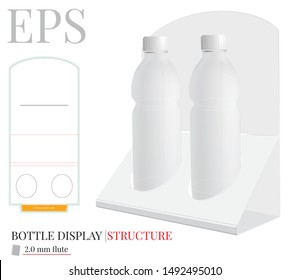 Counter Display Template, Vector with die cut / laser cut layers. Counter Stand, Header Shelf Box. White, clear, blank, isolated Bottle Display mock up on white background with perspective view