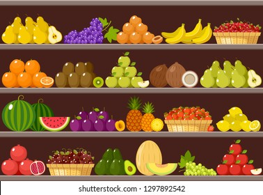 Counter with fruits. Supermarket. Vector illustration