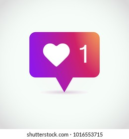 Counter Notification Icon, color gradient. Social media 1 like. Follower. Icon like 1. Instagram 1 like icon. Element for social network, web, ui, mobile, app. Vector illustration. EPS 10