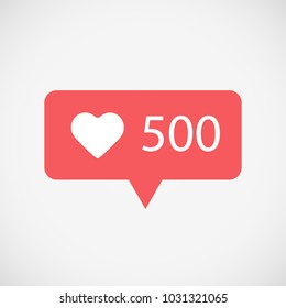 Counter Notification Icon red color. Instagram Follower. Icon likes 500. Social media 500 likes, heart. Element for social network, Insta, web, ui, mobile, app. Vector illustration. EPS 10.