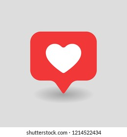 Counter Notification Red Heart UI Icon. Follower tap Icon like, heart icon. Social media mobile app add +1 like. Vector illustration icon EPS 10.