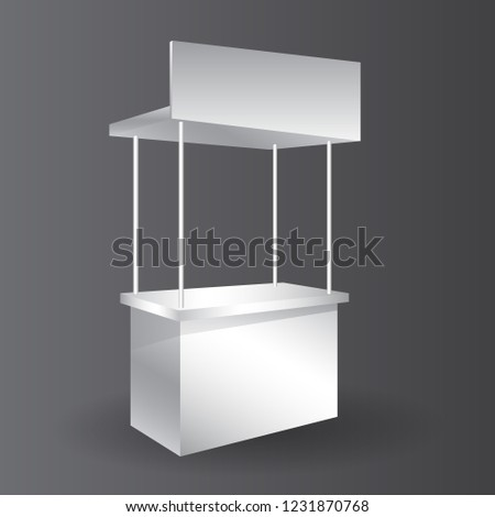 Small Exhibition Stand Mockup : Counter promotion exhibition stand mockup event stock vector
