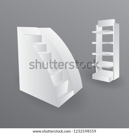 Exhibition Stand Shelves : Counter promotion exhibition stand mockup event stock vector