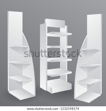 Exhibition Display Racks : Counter promotion exhibition stand mockup event stock vector