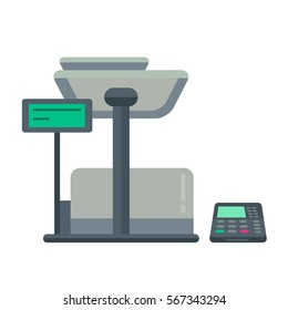 Counter stand in shop or supermarket. Retail checkout in store. Cashier desk in cash department. Vector illustration design isolated on white background.