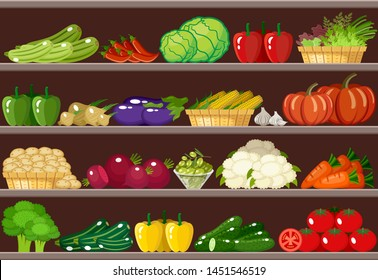 Counter with vegetables. Supermarket. Vector illustration