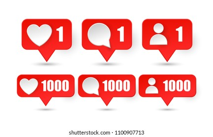 Counter YouTube Notification Icon like 1000, follower 1000, color gradient. Vector illustration Social media video blog 1000 like.