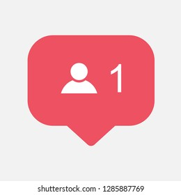 Counter,friend request quantity follower notification symbol instagram. Buton for social media .