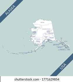 Counties map of Alaska labeled