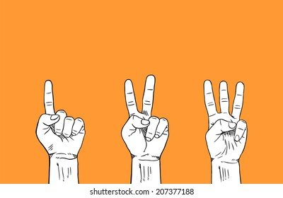 Counting 1-2-3 Fingers on Left Hand : isolated color white on orange
