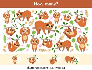 Counting children game of cartoon sloths. Kids learning collection. Count how many elements and write the result. Preschool worksheet activity.