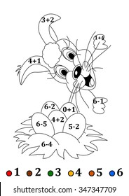 Counting with coloring books for small children with an Easter hare - vector