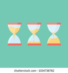 counting deadline concept & creative sand clock. clean & simple time isolated. full & empty Hourglass clean cartoon simple uhr flat design vector. watinig & loading measure or three measurment idea