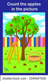 Counting educational children game, kids activity worksheet. Apple orchard with a fence, a staircase and a basket.  count the apples in the picture. vector and illustration