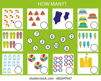 Counting educational children game, kids activity sheet. How many objects task. Learning mathematics, numbers, addition theme. Summertime theme