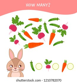 Counting educational children game, math kids activity sheet. How many objects task. Cartoon rabbit and vegetables.