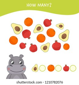 Counting educational children game, math kids activity sheet. How many objects task. Cartoon hippo and fruits.