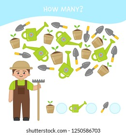 Counting educational children game, math kids activity sheet. How many objects task. Cartoon gardener and equipment.