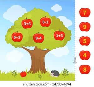 Counting educational children game, math kids activity sheet. Cartoon apple tree.