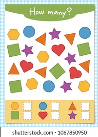 Counting educational children game for Preschool Children, math kids activity sheet. Count how many items and write the result!