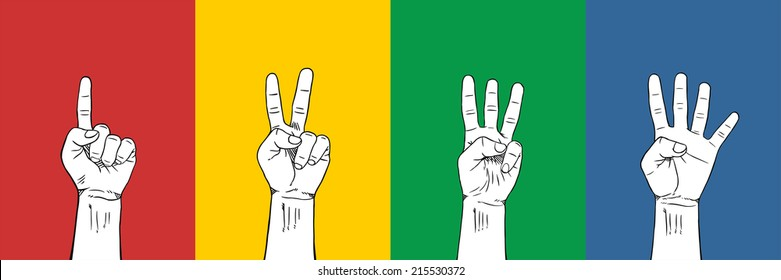 Counting Fingers 1-2-3-4  : 4 Colors red yellow green blue