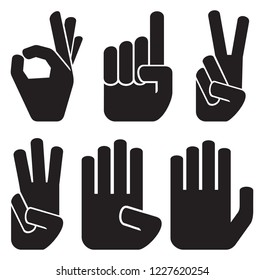 counting fingers icons set - one, two, three, four and five (hands and numbers)