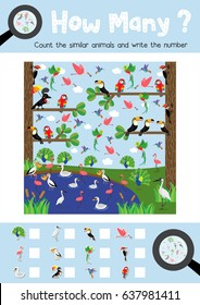 Counting game of cute birds animals for preschool kids activity worksheet layout in A4 colorful printable version. Vector Illustration.