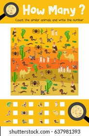 Counting game of desert animals for preschool kids activity worksheet layout in A4 colorful printable version. Vector Illustration.