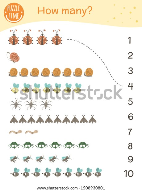 Counting Game Insects Math Activity Preschool Stock Vector (Royalty Free)  1508930801