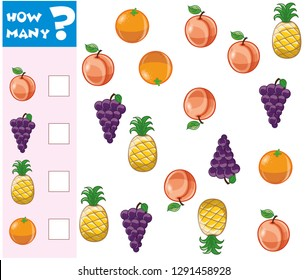 Counting Game for Preschool Children. Educational a mathematical game. Count how many fruits, vegetables and write the result! - Vektör