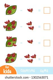 Counting Game for Preschool Children. Educational a mathematical game. Subtraction worksheets. Ladybugs and leaves