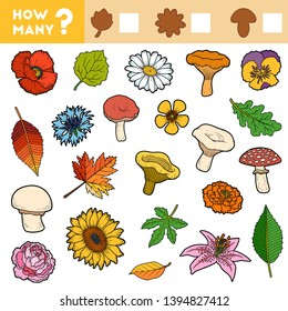 Counting Game for Preschool Children. Educational a mathematical game. Count how many leafs, mushrooms, flowers and write the result!