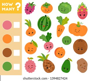 Counting Game for Preschool Children. Educational a mathematical game. Count how many fruits and vegetables and write the result!