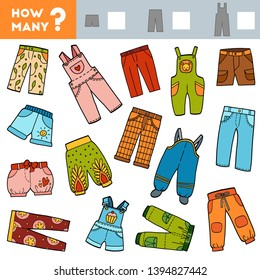 Counting Game for Preschool Children. Educational a mathematical game. Count how many shorts, trousers, overalls and write the result!