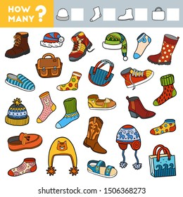 Counting Game for Preschool Children. Educational a mathematical game. Count how many boots, socks, hats, bags and write the result!