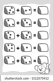 Counting Game for Preschool Children. Educational a mathematical game. Mouse and cheese. Count the numbers in the picture and write the result. Addition worksheets.