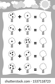 Counting Game for Preschool Children. Educational a mathematical game, tree. Count the apples in the picture and write the result