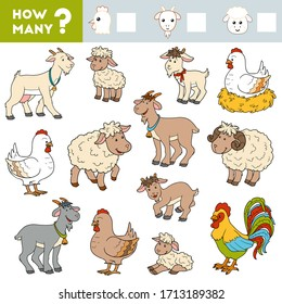 Counting Game for Preschool Children. Educational a mathematical game. Count how many Goats, Sheep, Chicken and write the result!